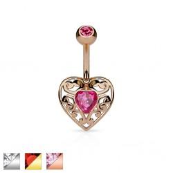 Piercing nombril coeur 13 - Zircone central