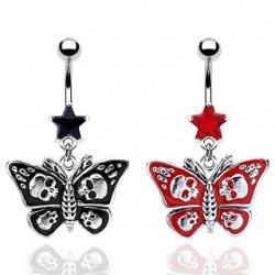 Piercing nombril gothique 37 - Papillon avec crâne
