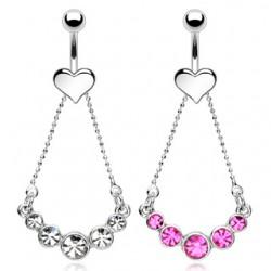 Piercing nombril coeur et chainette (D113)