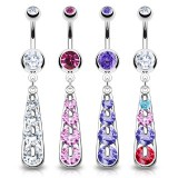 Piercing nombril cascade quatre strass (D110)