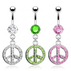 Piercing nombril peace and love multistrass (D129)