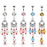 Piercing nombril chandelier et breloques (D89)