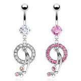 Piercing nombril cercle et papillon (D58)
