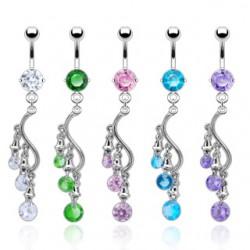Piercing nombril chandelier trois zircones (D63)