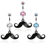 Piercing nombril moustache noire (D147)
