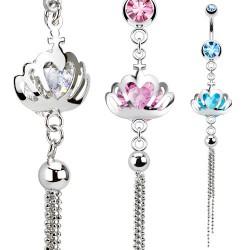 Piercing nombril couronne et chainettes (D167)