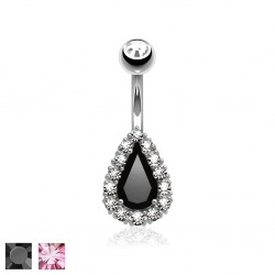 Piercing nombril goutte multistrass (D12)
