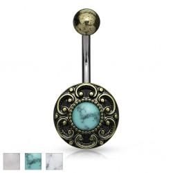 Piercing nombril vintage bronze avec pierre (D20)
