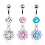 Piercing nombril cristal 32 - Fleurs pendantes