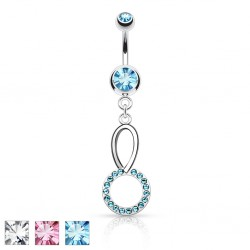 Piercing nombril cercle strass (D75)