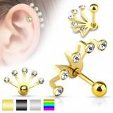 Piercing oreille original 23 - PVD cinq strass