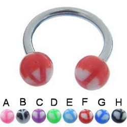 Piercing fer à cheval 51 - UV peace and love 10mm