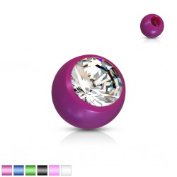 Boule UV unicolore avec strass 1,2mm
