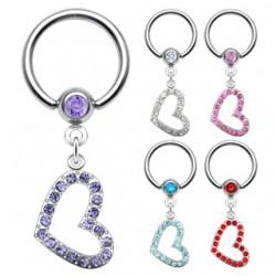 Piercing anneau 1,6mm 16 - Coeur strass