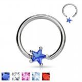 Piercing anneau 1,6mm 95 - Zirconium étoile