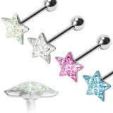 Piercing langue 61 - Multistrass étoile