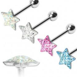 Piercing langue 61 - Multistrass étoile
