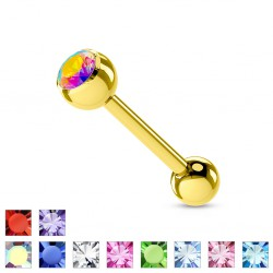 Piercing langue plaqué-or 02 - Strass