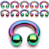 Piercing fer à cheval PVD rainbow boules 2 à 6mm