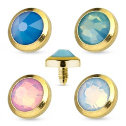 Embout microdermal strass plat gold-ip opalite