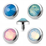 Embout microdermal strass plat opalite