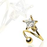 Piercing spirale 20 - Zircone étoile plaqué-or