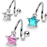 Piercing spirale 31 - Cristal étoile