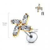 Piercing micro-labret 125 - Quatre zircones rectangulaires gold-ip