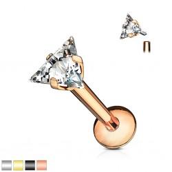 Piercing micro-labret 116 - PVD zircone triangle