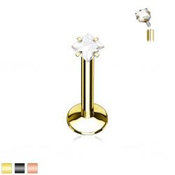 Piercing micro-labret 110 - PVD zircone carré