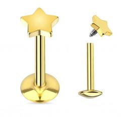 Piercing micro-labret 51 - Plaqué-or étoile