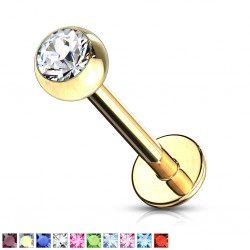 Piercing micro-labret 19 - Plaqué-or strass