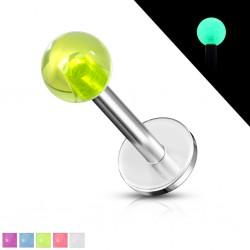 Piercing labret UV 01 - Fluorescent boule