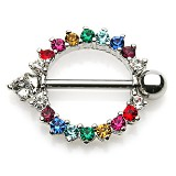 Piercing téton gay-pride 03 - Multiples strass