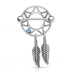 Piercing téton attrape rêve deux plumes en acier (57)