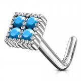 Piercing nez courbé 0.8mm 89 - Carré strass turquoise