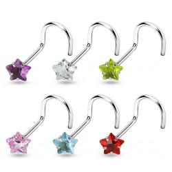 Piercing de nez courbe 1mm 18 - Cristal étoile