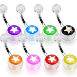 Piercing nombril UV 72 - étoile brillante