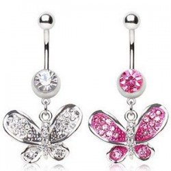 Piercing nombril papillon ailes brillantes (38)