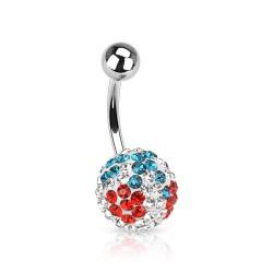 Piercing nombril cristal 29 - Férido cerise