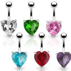 Piercing nombril cristal 24 - Coeur