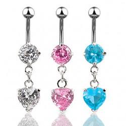 Piercing nombril cristal 01 - Coeur deluxe