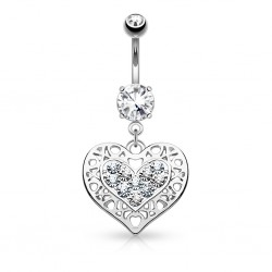 Piercing nombril coeur 10 - Dix zircones transparents