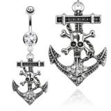 Piercing nombril ancre marine 04 - Corde et crâne