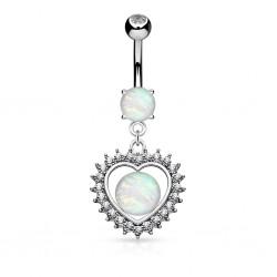 Piercing nombril coeur 20 - Centre opalite
