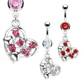 Piercing nombril coeur 04 - Multistrass