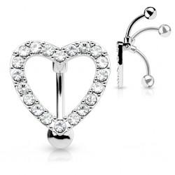 Piercing nombril inversé 12 - Coeur transparent