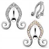 Piercing nombril inversé 43 - Bouts en spirales strass