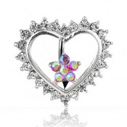 Piercing nombril inversé 13 - Coeur avec fleur