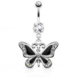 Piercing nombril papillon ailes noires avec strass (04)